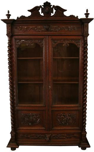 1880 Bookcase Antique French Hunting Style Renaissance Oak Carved Music Animals