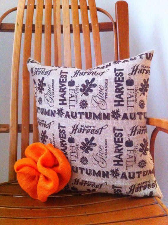 Harvest Burlap Fall Pillow Cover -16 Inch - Halloween, Thanksgiving, Fall Decor