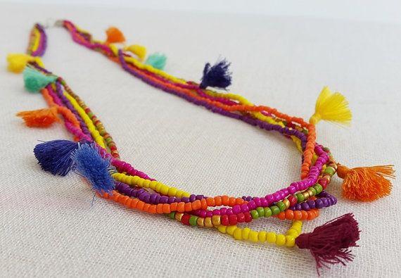 Colorful Multi strand tassel necklace   5 by Brightnewpenny