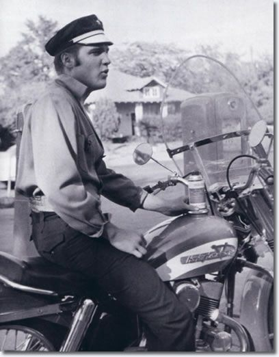 Elvis Presley on his Harley-Davidson motorcycle