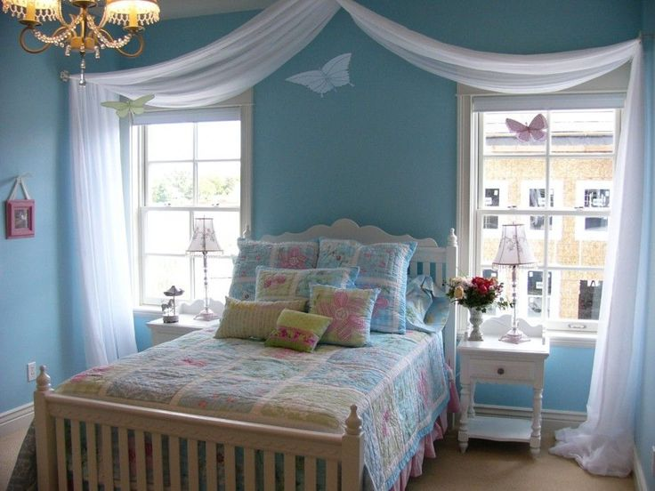Soft Color Decorating Ideas For Teenage Girl Bedrooms With Interesting  White Curtain And Prety Hanging Lamp And Windows Besides Personal Bed With  Pillows