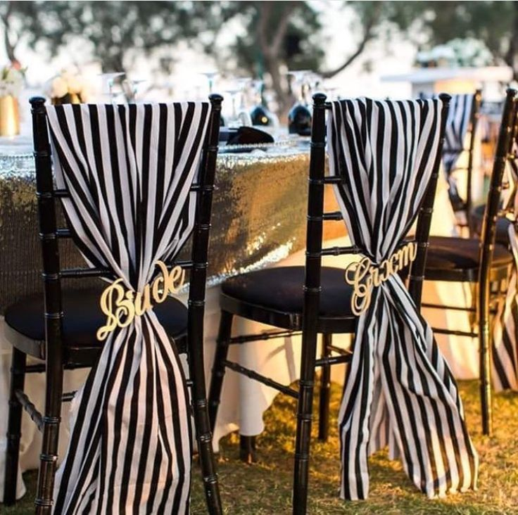 Black and white stripe chair fabric.