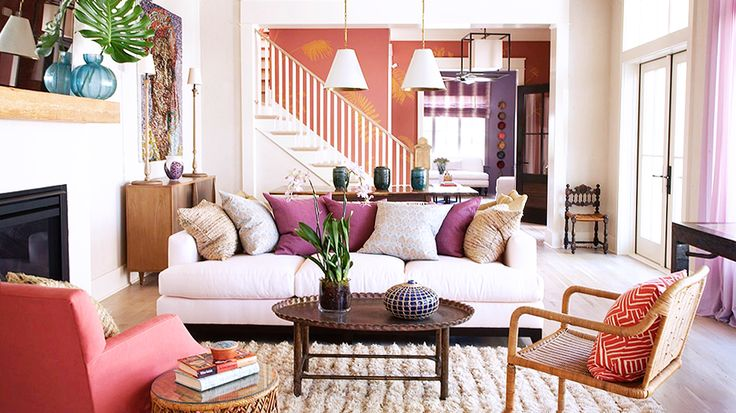 Warm purples and coral tones // beach house decor: Wall Colors, Floors Plans, Living Rooms, Fall Decor, Colors Schemes, Coastal Living, Throw Pillows, Cottages Design, Angie Hranowski