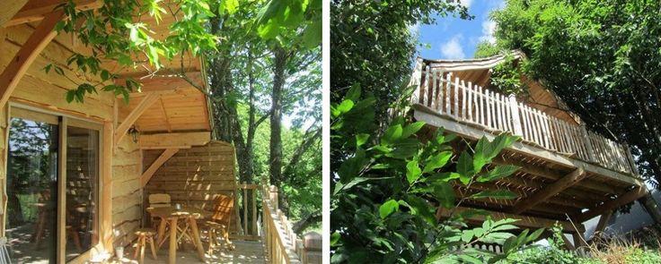Cabanes-spa du Domaine de Méros. Profitez d'une nuit de détente dans ces cabanes perchées et équipées d'une salle de bains spa