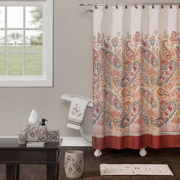 Saturday Knight Persia Fabric Shower Curtain Paisley 70 X 72 New