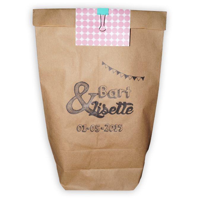 NIEN // Ideetje voor jouw bruiloft! Toffe goodiebags voor de daggasten. Of verpak het cadeau voor het bruidspaar hier in.