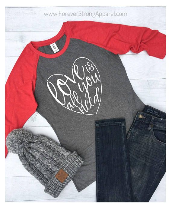 7a75c319b Love is All You Need, Valentines Day Raglan Womens, Women Valentine ...