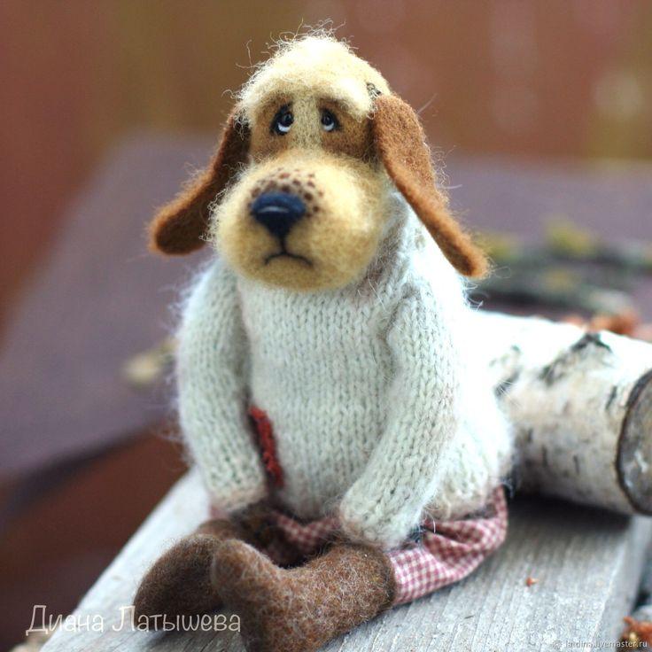 Купить Пёс Семён - коричневый, собака, пес, служивый, Валяние, войлок, игрушка из шерсти