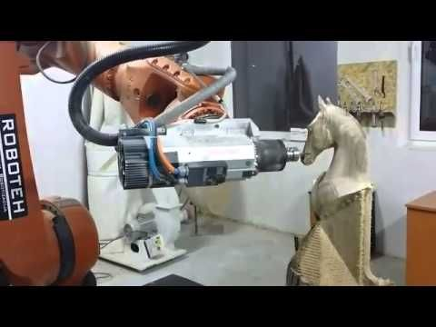Miling solid wood with Kuka robot KR150 and Sprutcam