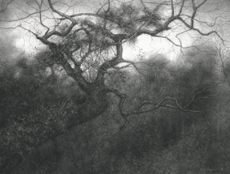 Conte Drawing Landscape