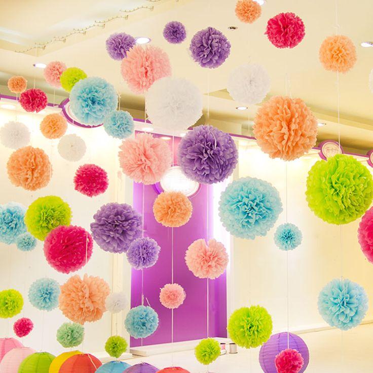 """Diy multi color 4 """"6"""" 8 """"mieszane Rozmiary 15 sztuk Papierowe Kwiaty Ball Ślub Domu Urodziny Strona Dekoracji Samochodu Bibuły Pom Poms"""