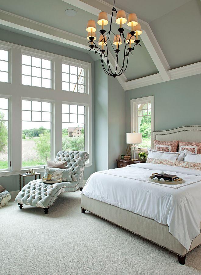 Walls: Benjamin Moore Half Moon Crest 1481; ceiling:Benjamin Moore mix 50% White/50% Half Moon Crest 1481; trim: BM Icicle 2142-70.