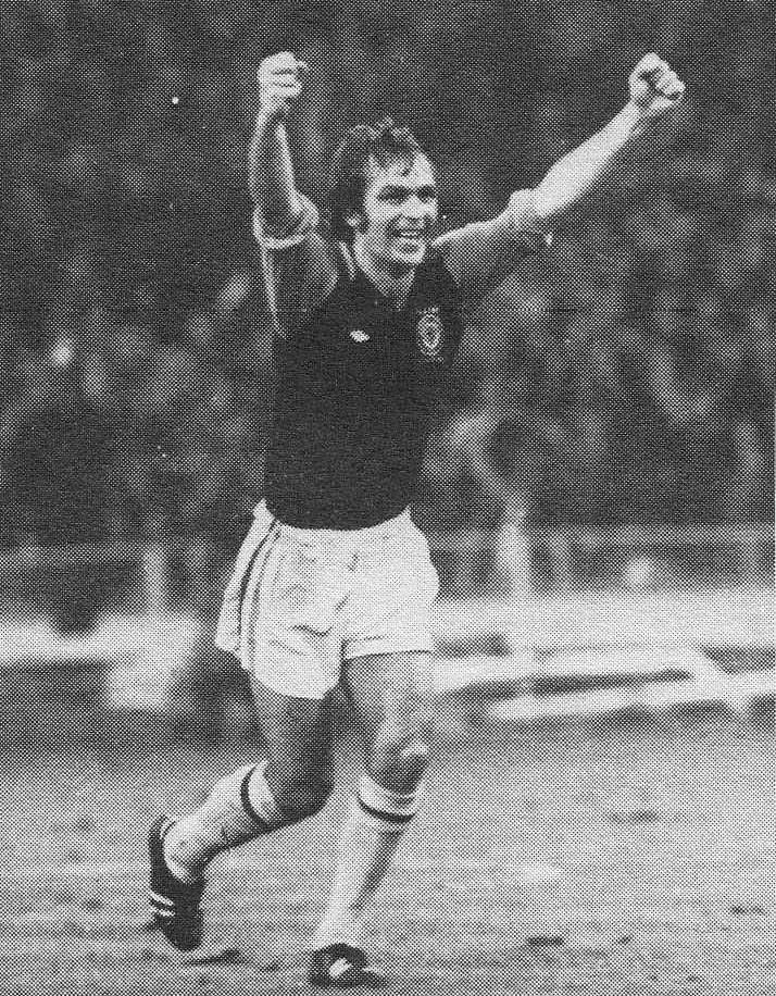 1st march 1975. Aston Villa forward Ray Grayden celebrates scoring, against Norwich City, in the League Cup Final. Grayden had missed the initial penalty but able to get first to the rebound.