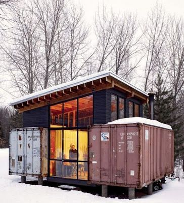 Shipping Container Homes <3 I like this design, could see it done with old train cars too...
