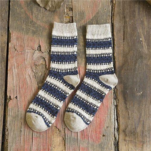 Striped Merino Wool Socks