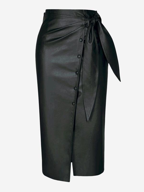8735610ea90e Faux Leather Button-Down Midi Skirt In Black in 2019 | Dresses ...