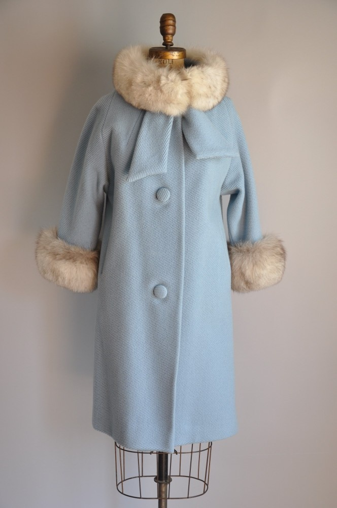 1950s designer Lilli Ann Ultimate Bombshell baby blue white fox fur coat