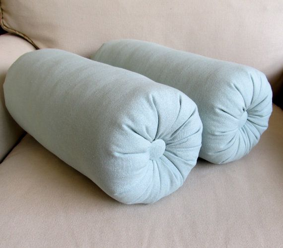pair of spa blue bolster pillows 14 x 6