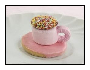 SUE-cute marshmallow tea cups - No cook cuteness, using ALLEN'S Freckles. Would be great for pink or girl themed parties