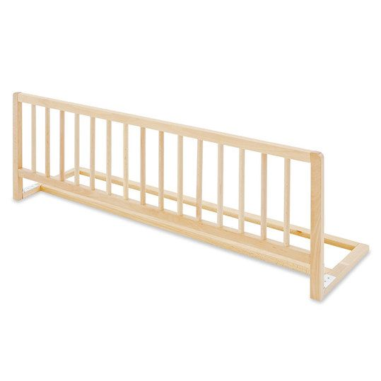Praktisches Bettschutzgitter aus lackierter Buche mit einer Länge von 90 cm. Für eine Matratzenhöhe bis 19 cm geeignet.