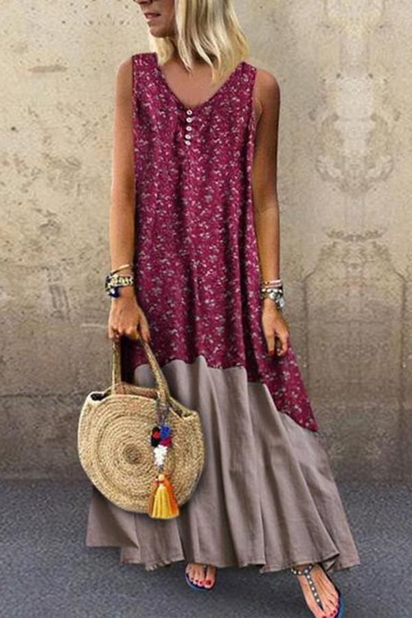 746a380cb0d3 Sexy Round-Neck Bohemian Sleeveless Print Dress in 2019 | Boho ...