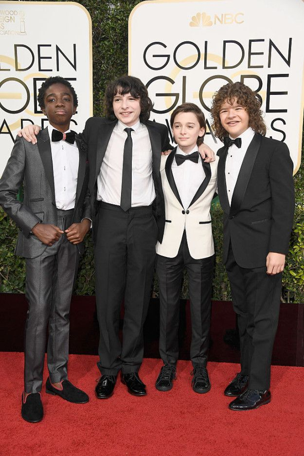 "Caleb McLaughlin, Finn Wolfhard, Gaten Matarazzo, and Noah Schnapp showed up in their Sunday best for their red carpet debut. | The ""Stranger Things"" Kids Looked So Frickin' Dapper At The 2017 Golden Globes"