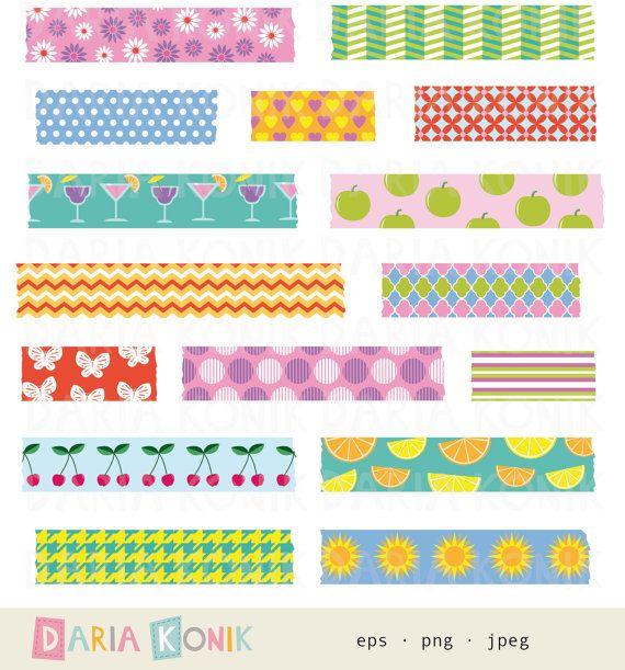 Summer Washi Tape Clip Art Set-summer clipart by dariakonik