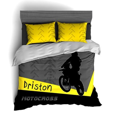 Personalized Motocross Comforter or Duvet, Motocross Bedding Set, Dirt Bike Bedding, Freestyle Motocross, Yellow