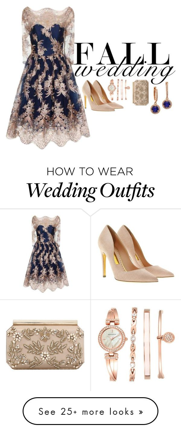 """""""the sapphire rose guest"""" by harryvimes on Polyvore featuring Chi Chi, Anne Klein, Rupert Sanderson, Oscar de la Renta, navy, embroidered, rosegold, navyandgold and fallwedding"""
