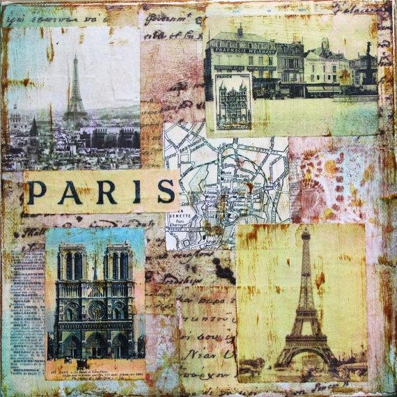 "Paris I - original collage / mixed media on 8"" x 8"" canvas. $30.00, via Etsy."