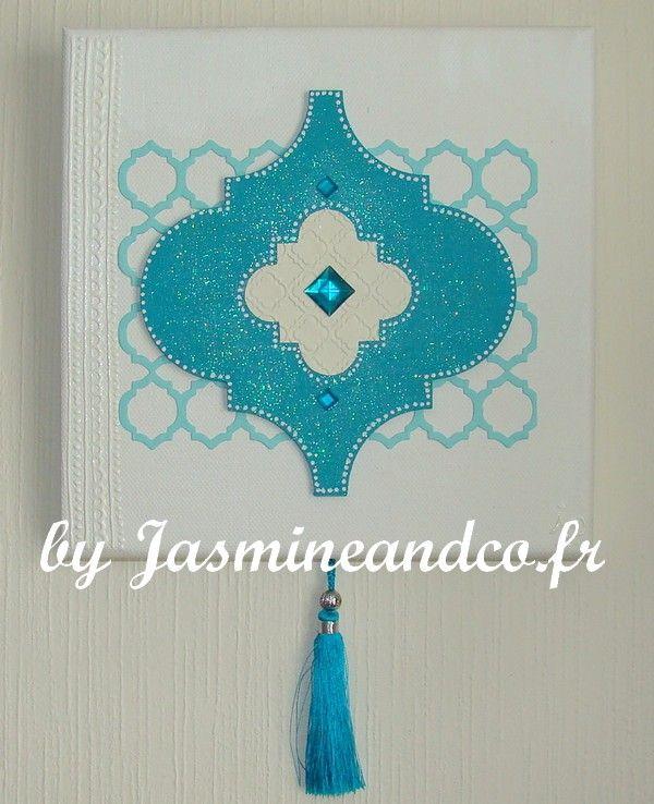 Tableau oriental chic réalisé pour une cliente. Réalisé avec un support que je vends sur ma boutique : http://boutique.plumedemiel.com/581-support-oriental-à-décorer-2.html#   Mon blog : http://blog.jasmineandco.fr