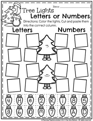 Preschool Worksheets for December - Tree Lights Letters or Numbers Sort and lots of other fun activities.