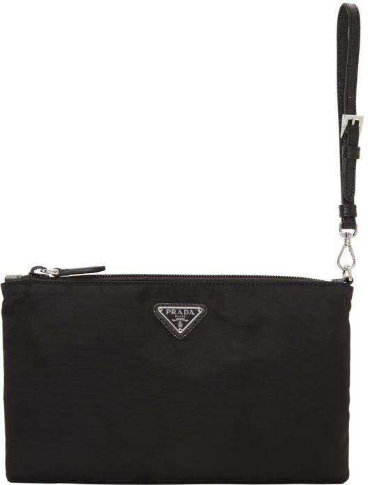 3ad3b06902f0 Prada Black Flat Nylon Pouch.afflink   Fashion for Women   Fashion ...