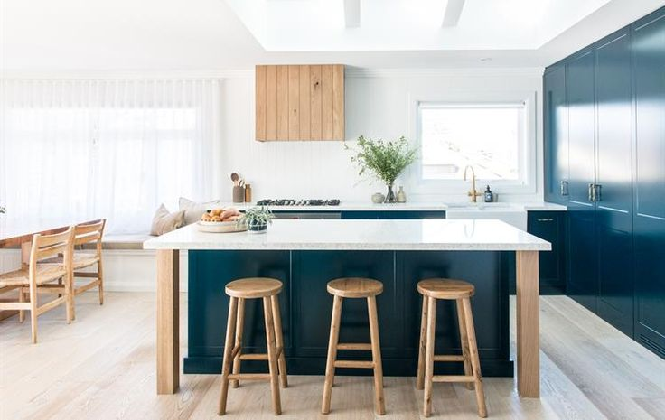 ::Island Bench with timber legs:: Toowoon Bay Renovation Kitchen Reveal