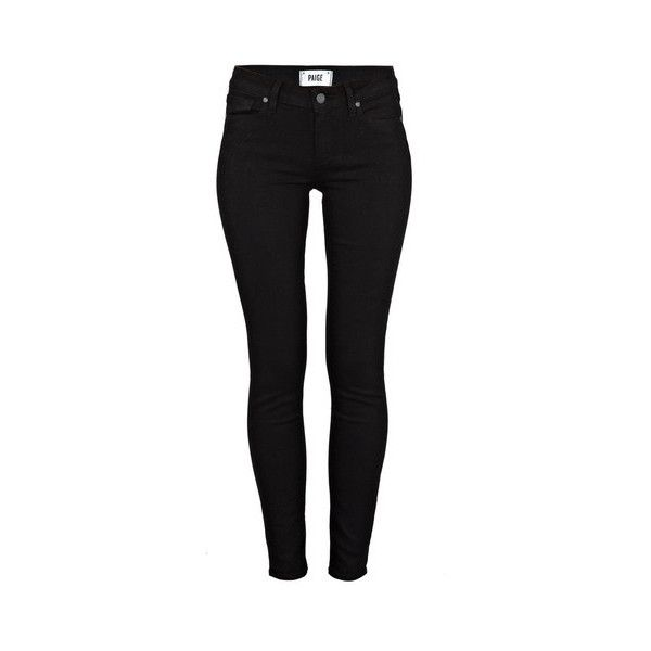 Paige Verdugo Skinny Jeans ($285) ❤ liked on Polyvore featuring jeans, bottoms, pants, black, mid rise skinny jeans, denim jeans, stretchy skinny jeans, mid-rise jeans and stretch skinny jeans
