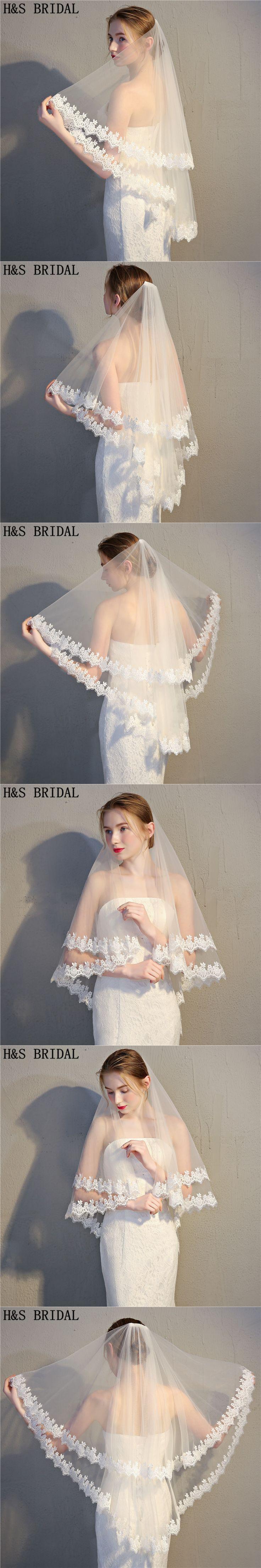 H&S Bridal 2018 Cheap Voile Marriage Short Veil two Layers lace edge ivory Wedding Veil Bridal Veil Veu de Noiva velos de novia