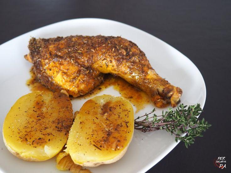 Pollo al horno con hierbas y limón