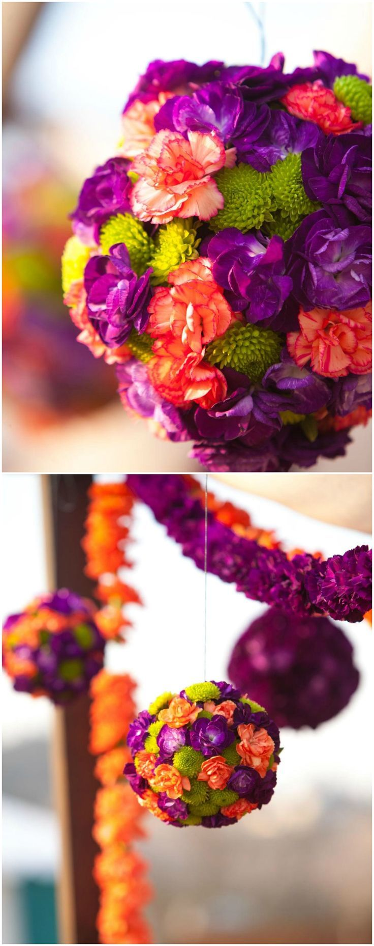 Colorful pomanders, purple & coral & green, suspended flowers, outdoor wedding reception // Suzanne Karp Photography