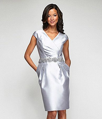 this is actually billed as Silver. It looks white on my screen, but I love the style. Alex Evenings Satin Tafetta Dress #Dillards