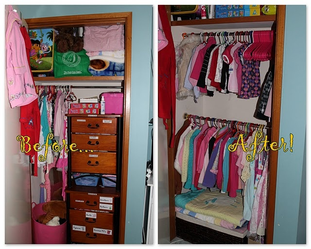 Can't afford an expensive closet organization system? Simply installing an additional rail in your childs wardrobe can make such a huge difference (for only a few dollars!)