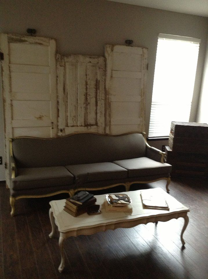 Old doors add height behind the sofa!  https://www.facebook.com/pages/Dumpster-Diva/265520813490127