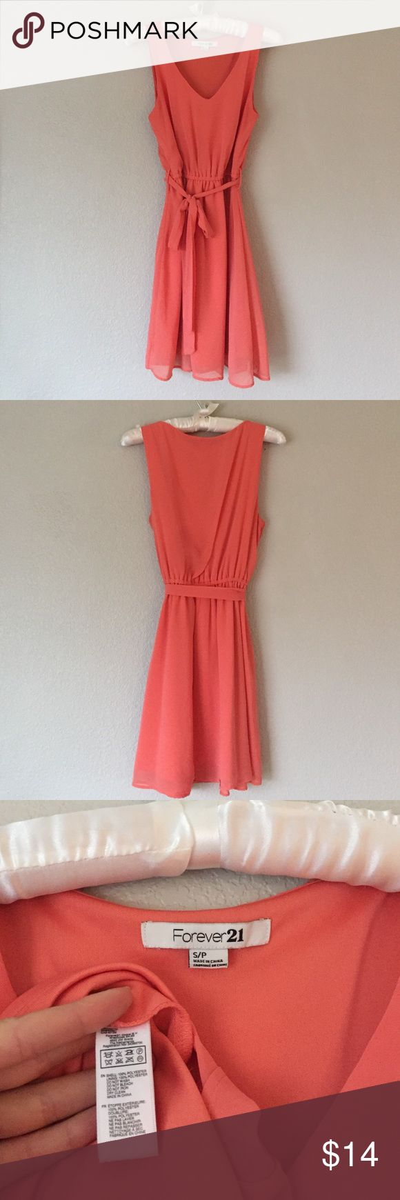 Coral Sundress Coral sundress. Fully lined and in excellent condition. Waist is scrunched and includes a cute tie. 100% Polyester. No trades. Forever 21 Dresses Mini