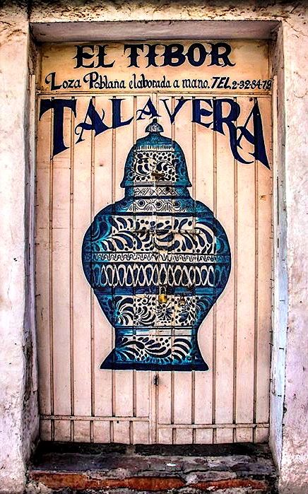 Door to Talavera. Fine Mexican earthware in Puebla, Mexico.