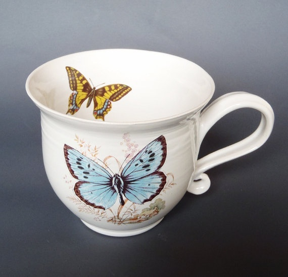 Hand thrown ceramic cup/mug of stoneware white with by kelverum, $37.00