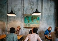 lounge/diner - lights, map, wall