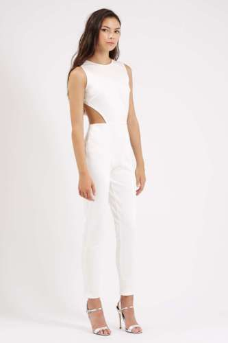 NWT Twin Sister White Cut Out Waist Jumpsuit UK 10 EU 38 US 8 cream topshop asos