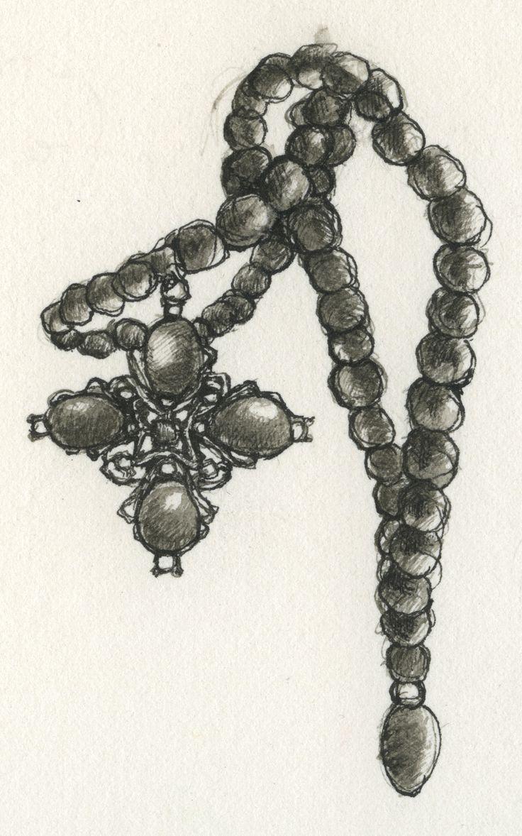 Esempio di collana rinascimentale: grani di corallo faccettato con ciondolo centrale dal motivo a croce, in oro e diamanti