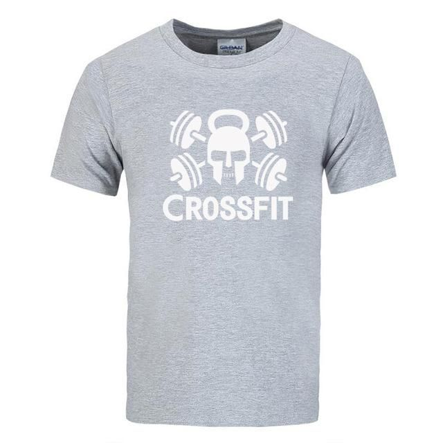 New brand Crossfit Skull Fitness T-Shirts Men's short sleeves Cotton Round  Collar Tee shirts