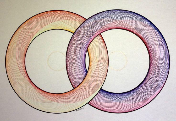 #regolo54 #geometry #symmetry #torso #handmade #disk #circle #compass #mathart #artorart #art #Escher #progression #evolution #structure #rainbow #torus