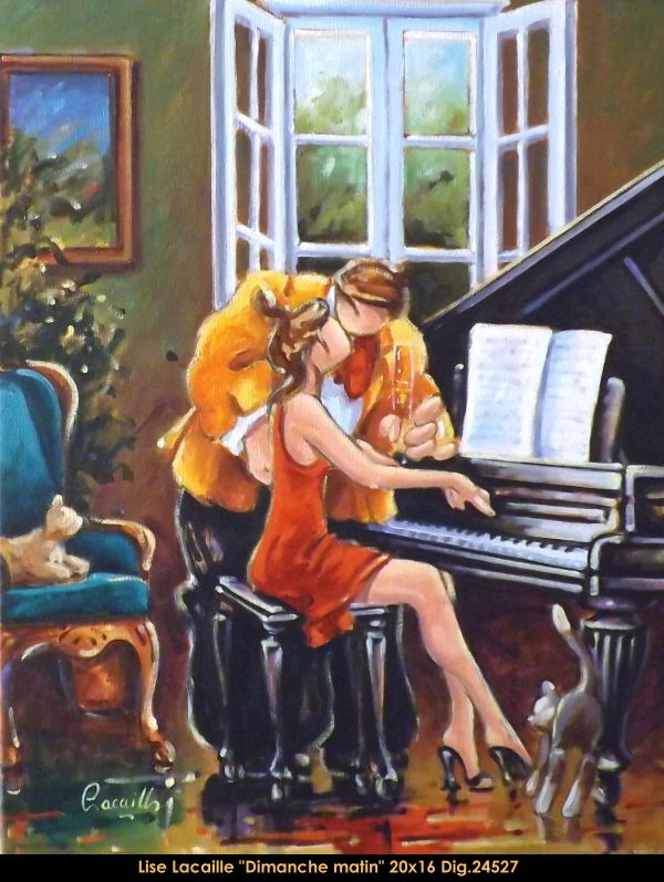 Lise Lacaille original oil painting on canvas #liselacaille #art #artist #canadianartist #quebecartist #fineart #figurativeart #originalpainting #oilpainting #CanadianArt #couple #music #multiartltee #balcondart